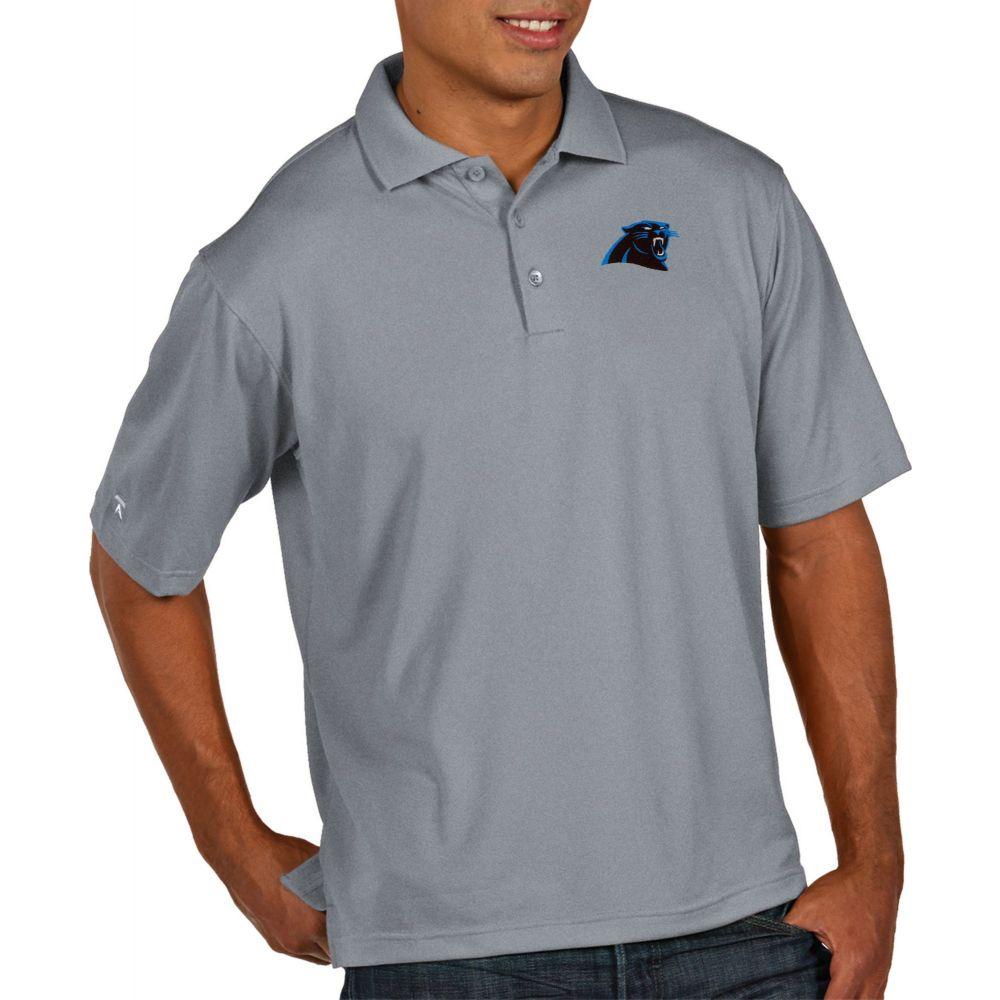 アンティグア Antigua メンズ ポロシャツ トップス【Carolina Panthers Pique Xtra-Lite Performance Grey Polo】