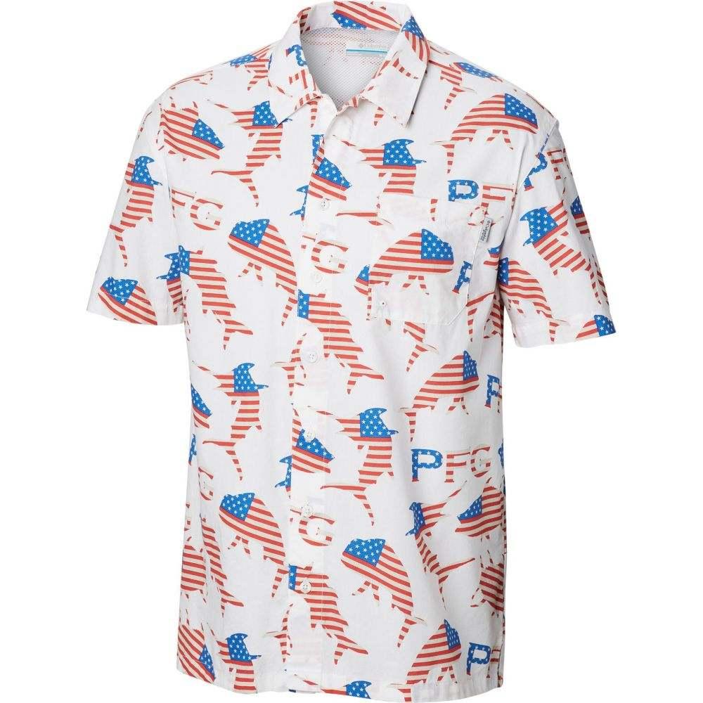 コロンビア Columbia メンズ 半袖シャツ トップス【Trollers Best Short Sleeve Button Down Shirt】White Merica Fish Print