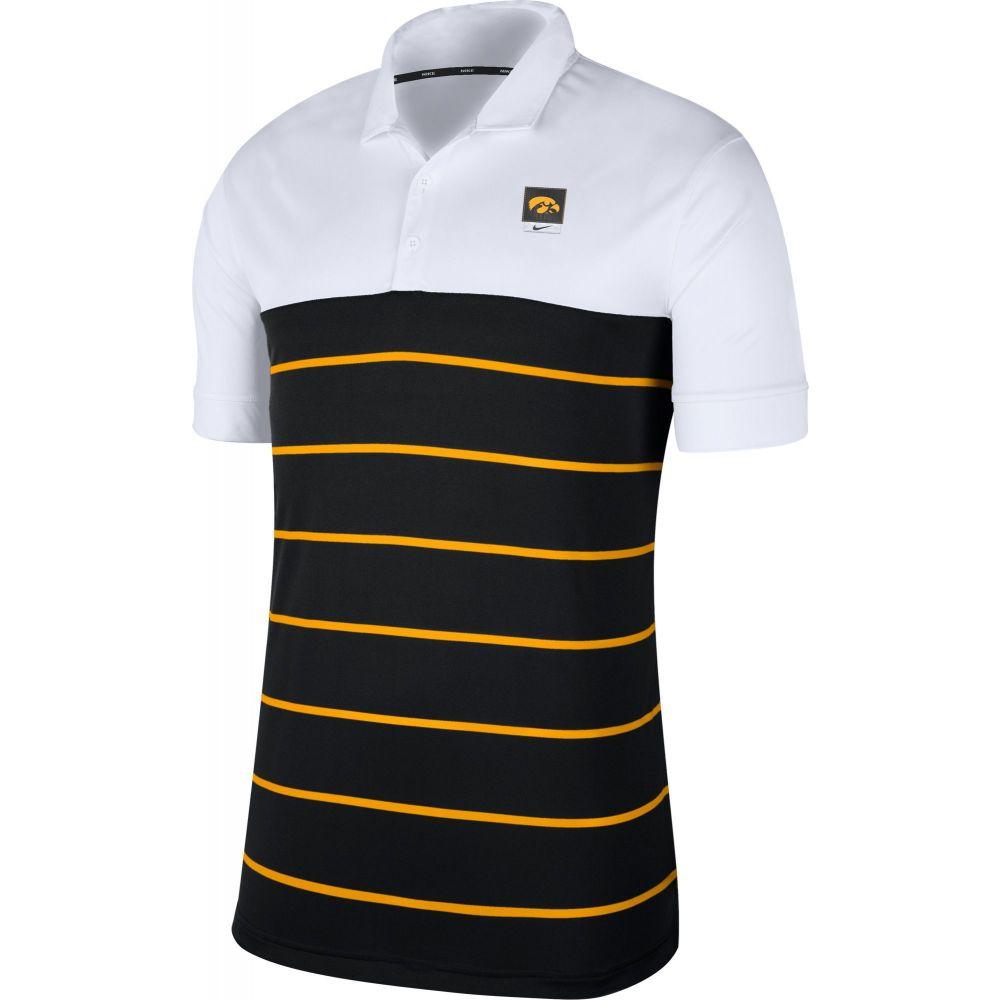 ナイキ Nike メンズ ポロシャツ トップス【Iowa Hawkeyes White/Black Striped Polo】