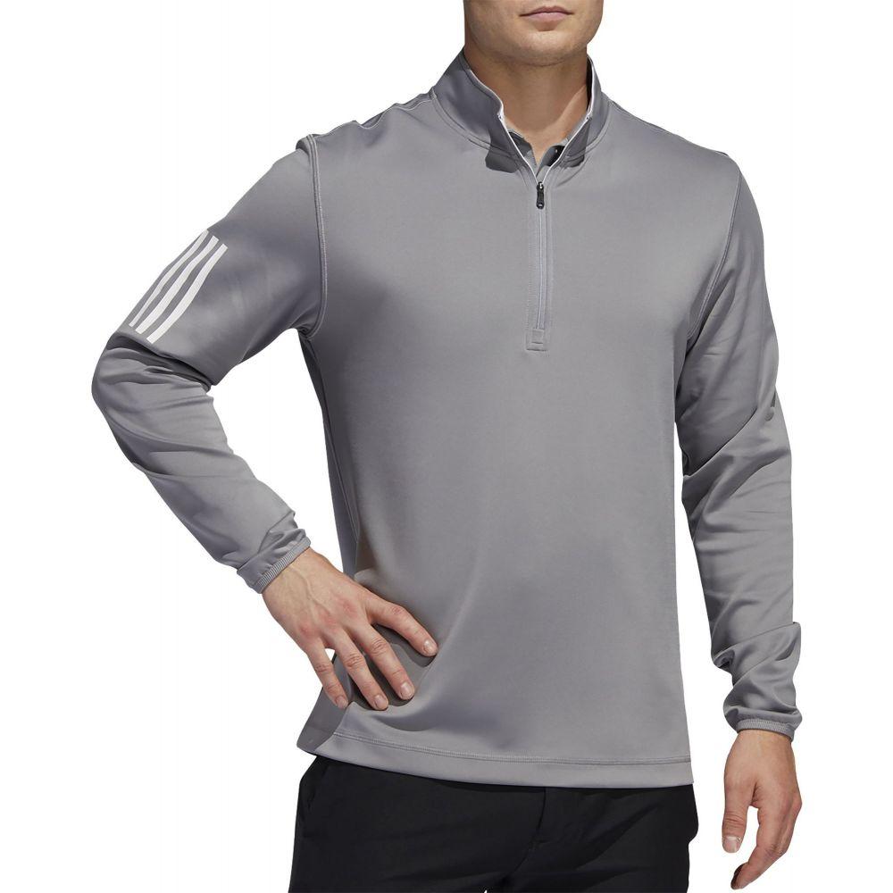 アディダス adidas メンズ ゴルフ ハーフジップ トップス【Midweight 1/2 Zip 3-Stripe Golf Pullover】Grey Three/White