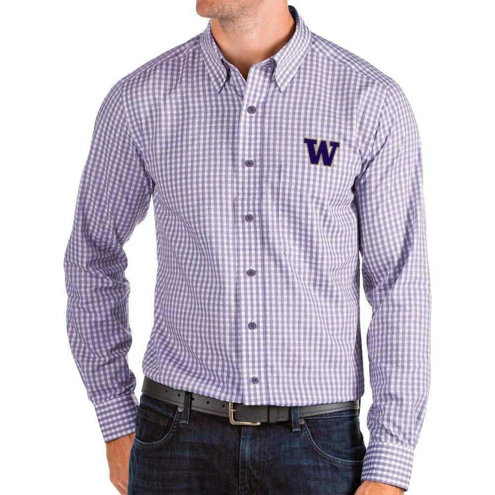 アンティグア Antigua メンズ シャツ トップス【Washington Huskies Purple Structure Button Down Long Sleeve Shirt】