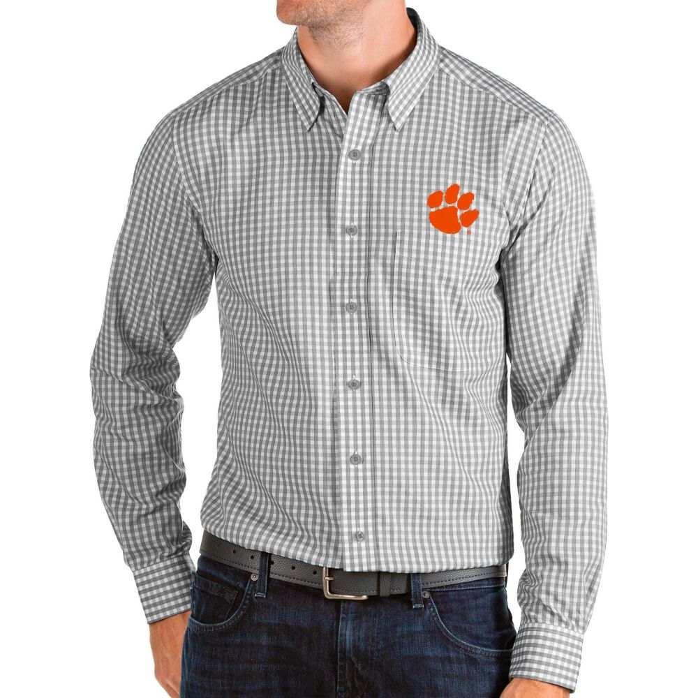 アンティグア Antigua メンズ シャツ トップス【Clemson Tigers Grey Structure Button Down Long Sleeve Shirt】