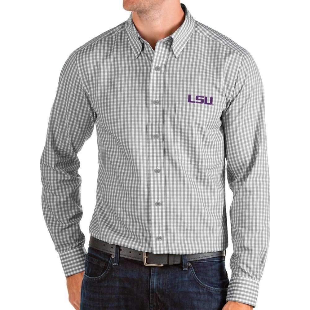 アンティグア Antigua メンズ シャツ トップス【LSU Tigers Grey Structure Button Down Long Sleeve Shirt】