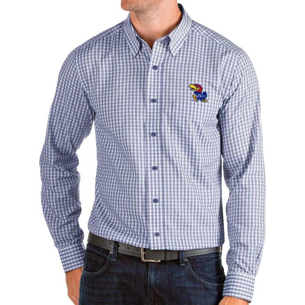 アンティグア Antigua メンズ シャツ トップス【Kansas Jayhawks Blue Structure Button Down Long Sleeve Shirt】