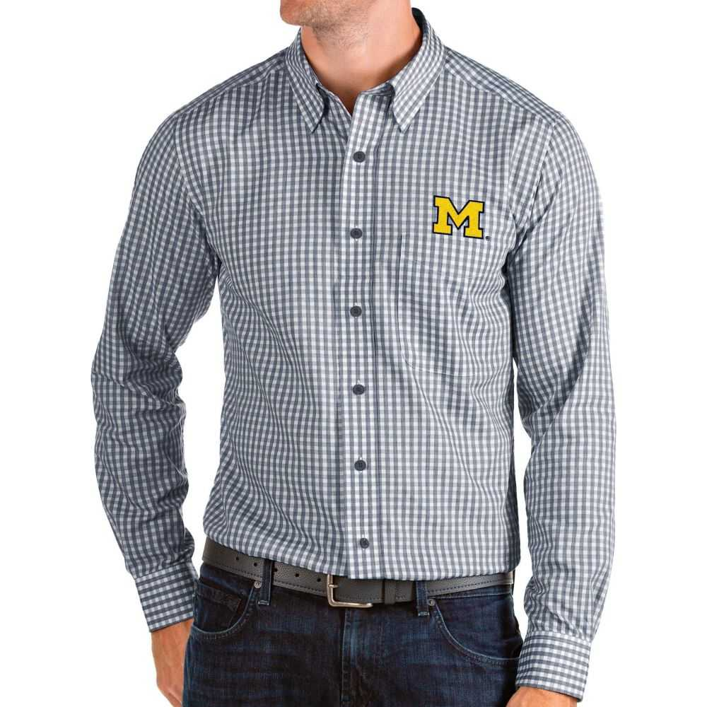 アンティグア Antigua メンズ シャツ トップス【Michigan Wolverines Blue Structure Button Down Long Sleeve Shirt】