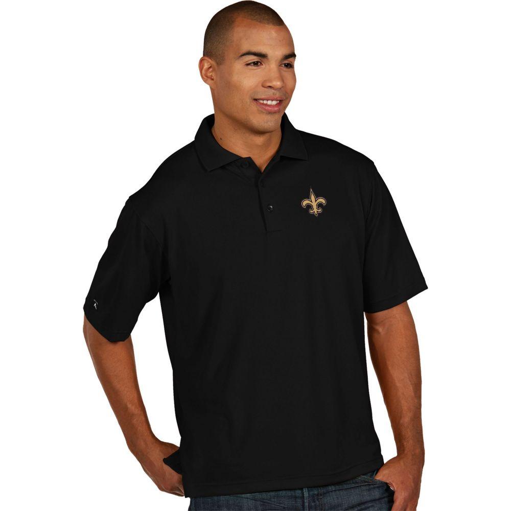 アンティグア Antigua メンズ ポロシャツ トップス【New Orleans Saints Pique Xtra-Lite Black Polo】