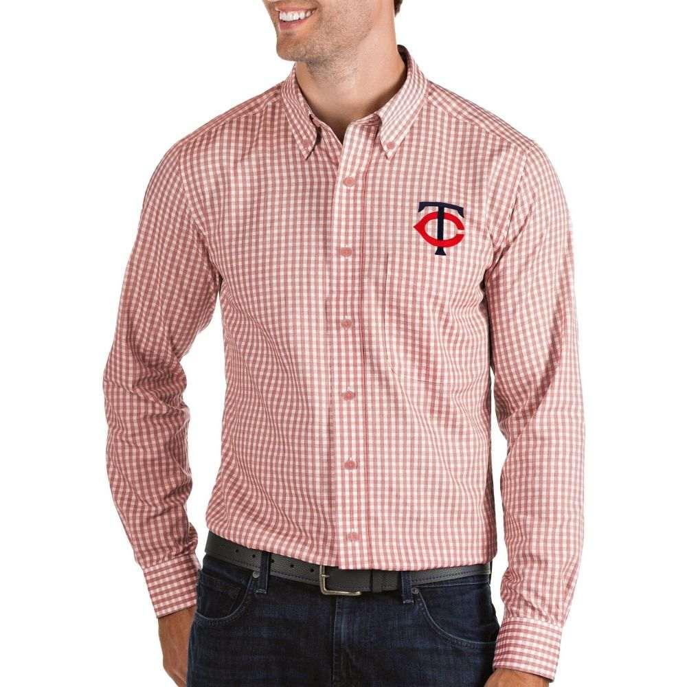 アンティグア Antigua メンズ シャツ トップス【Minnesota Twins Structure Button-Up Red Long Sleeve Shirt】