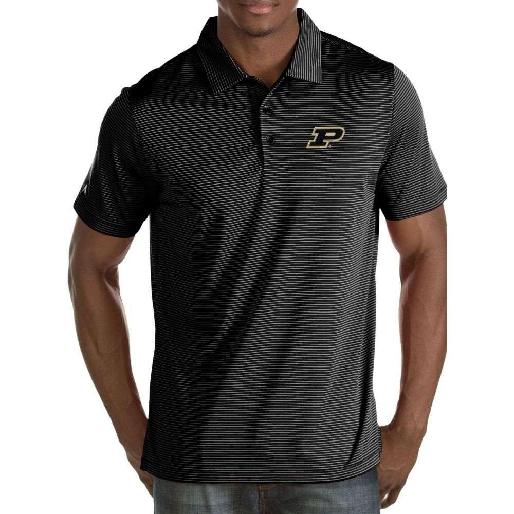 アンティグア Antigua メンズ ポロシャツ トップス【Purdue Boilermakers Black/White Quest Polo】
