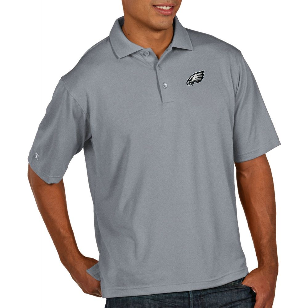 アンティグア Antigua メンズ ポロシャツ トップス【Philadelphia Eagles Pique Xtra-Lite Performance Grey Polo】