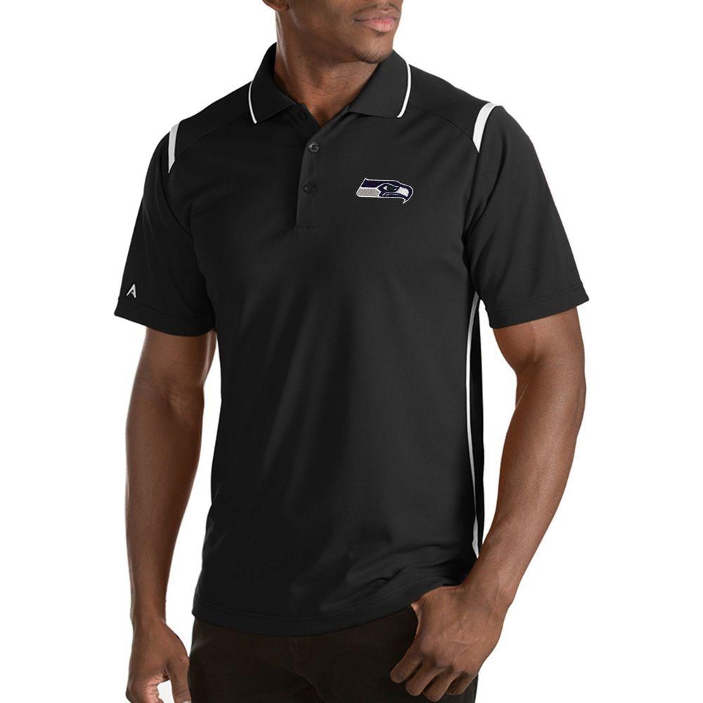 アンティグア Antigua メンズ ポロシャツ トップス【Seattle Seahawks Merit Black Xtra-Lite Polo】