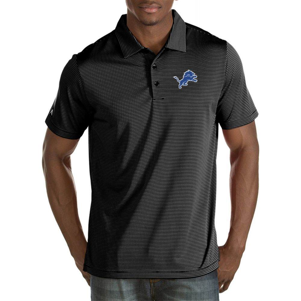 アンティグア Antigua メンズ ポロシャツ トップス【Detroit Lions Quest Black Polo】