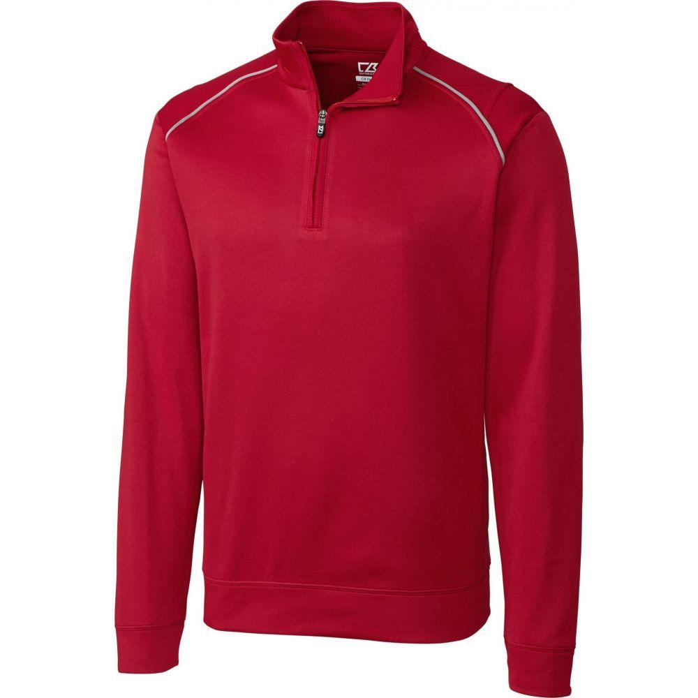 カッター&バック Cutter & Buck メンズ ゴルフ ハーフジップ トップス【CB WeatherTec Ridge Quarter-Zip Long Sleeve Golf Pullover】Cardinal Red