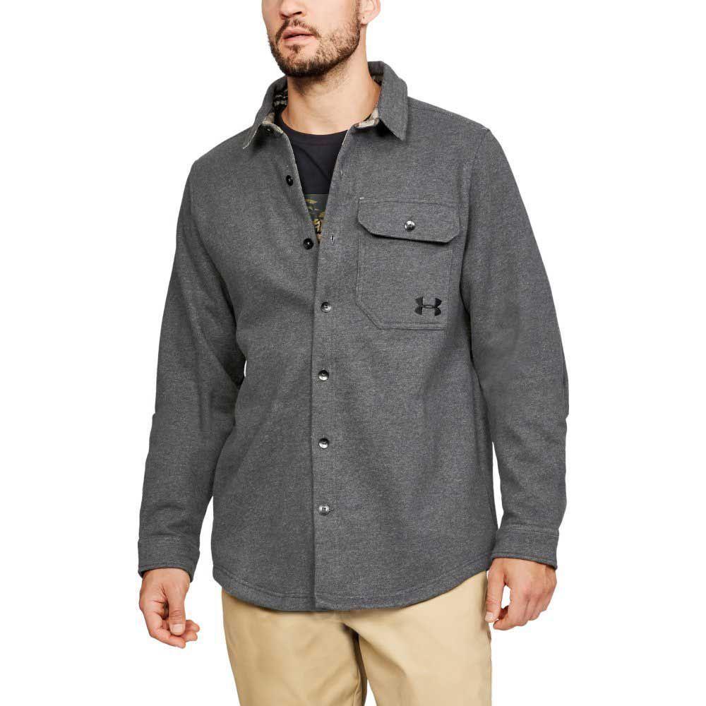 アンダーアーマー Under Armour メンズ フリース トップス【Buckshot Button Up Fleece Jacket】Charcoal Medium Heather