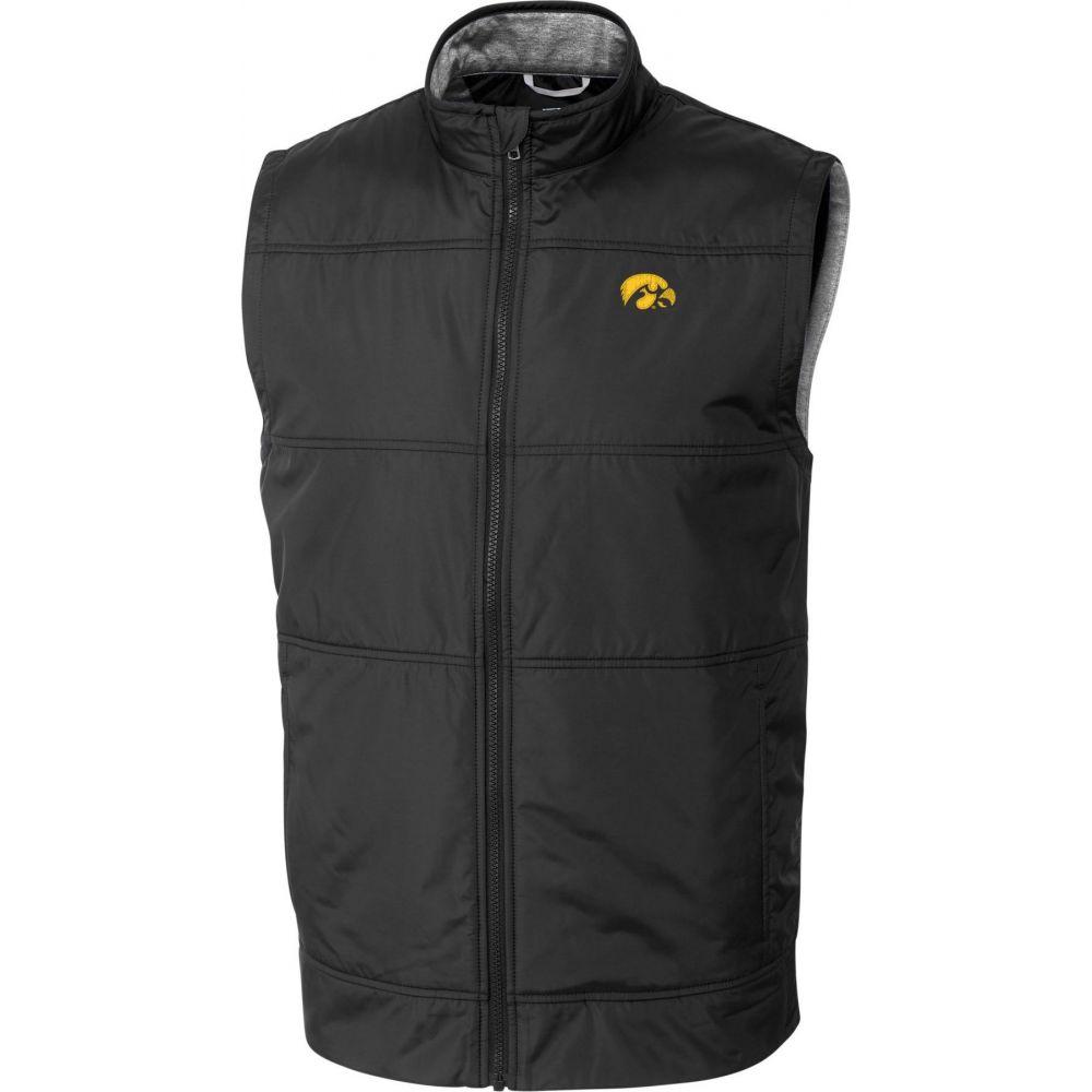 カッター&バック Cutter & Buck メンズ ベスト・ジレ トップス【Iowa Hawkeyes Stealth Full-Zip Black Vest】