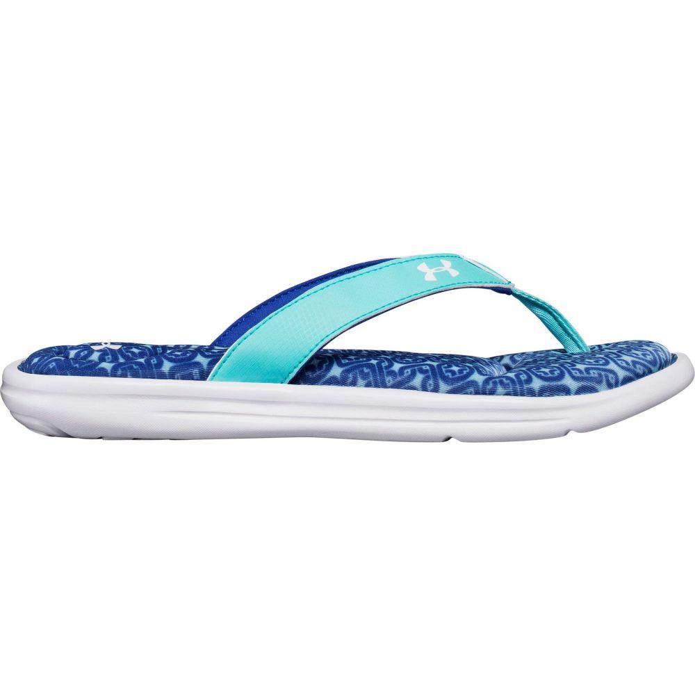 アンダーアーマー Under Armour レディース ビーチサンダル シューズ・靴【Marbella Oval VI Thong Flip Flops】Blue/White