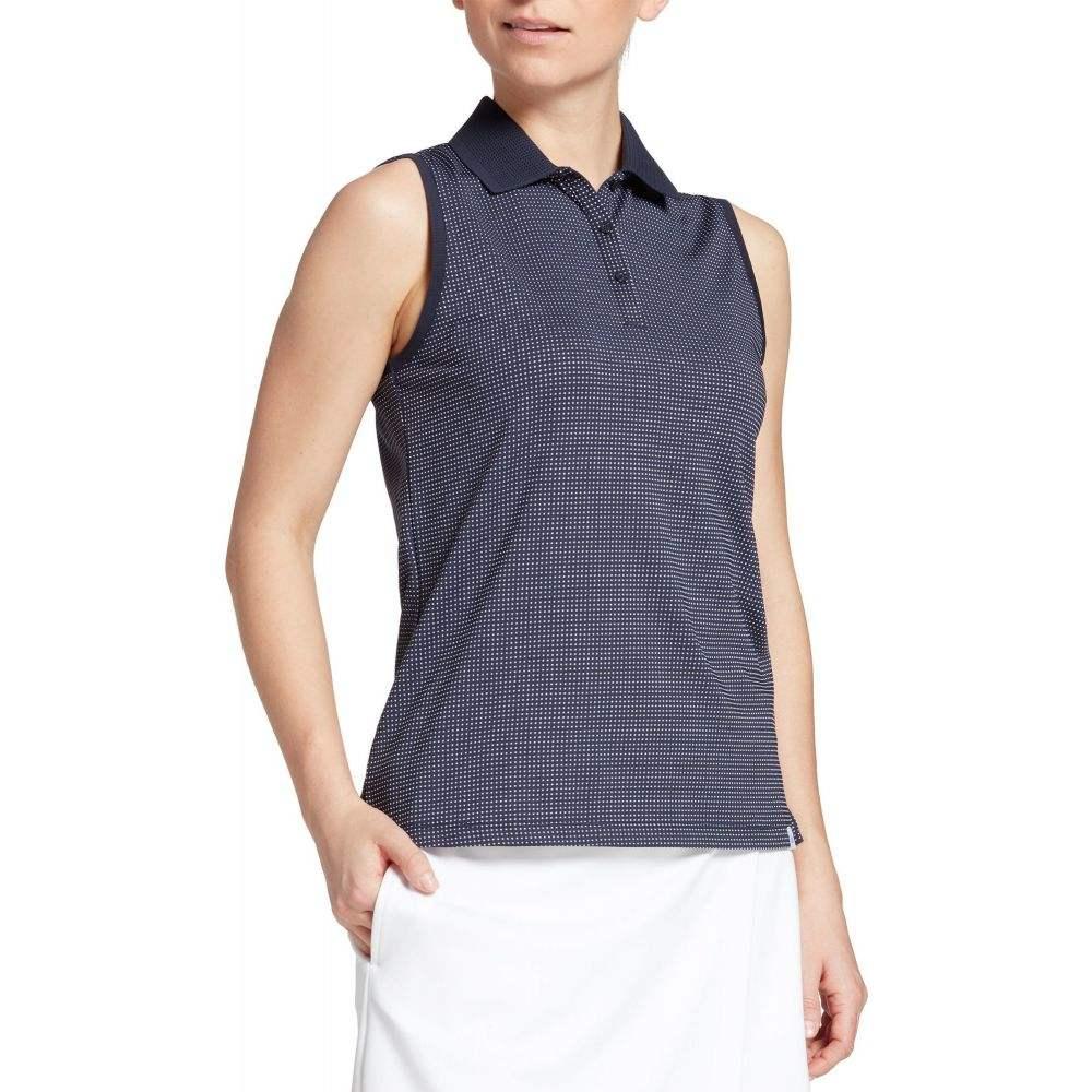 レディー ハーゲン Lady Hagen レディース ゴルフ ノースリーブ ポロシャツ トップス【Hagen Green Textured Sleeveless Golf Polo】Dark Navy