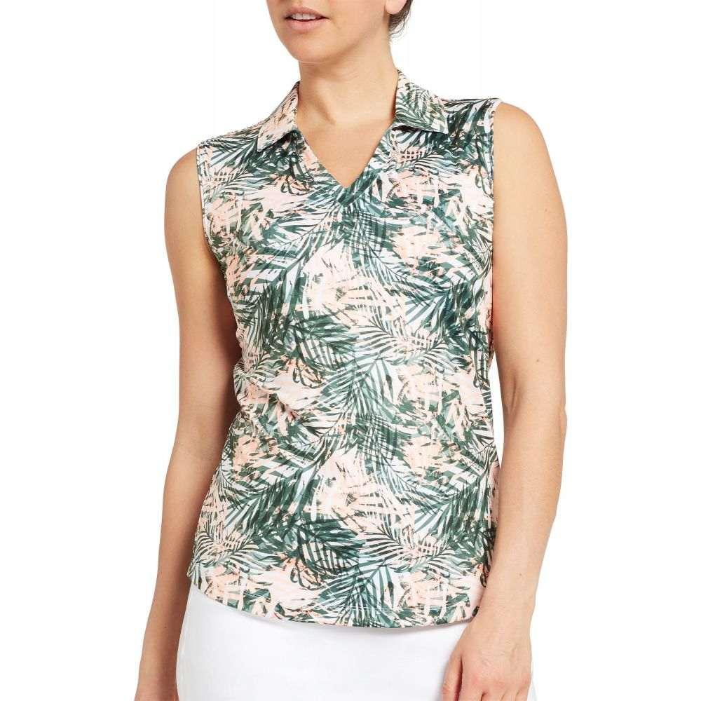 レディー ハーゲン Lady Hagen レディース ゴルフ ノースリーブ ポロシャツ トップス【Hagen Tropical Print Sleeveless Golf Polo】Herbal Green