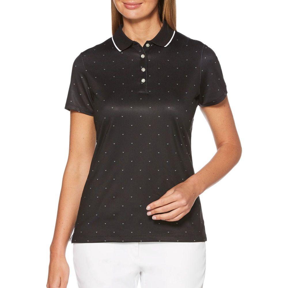 キャロウェイ Callaway レディース ゴルフ 半袖 トップス【Chevron Polka Dot Short Sleeve Golf Polo】Caviar