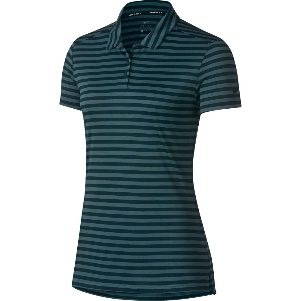 ナイキ Nike レディース ゴルフ 半袖 トップス【Dry Short Sleeve Striped Golf Polo】Midnight Spruce