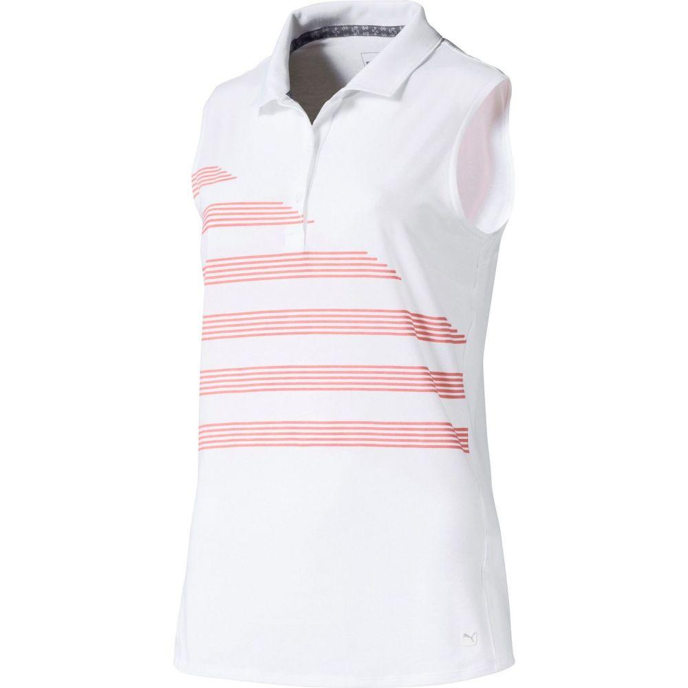 プーマ PUMA レディース ゴルフ ノースリーブ ポロシャツ トップス【Step Stripe Sleeveless Golf Polo】Bright White