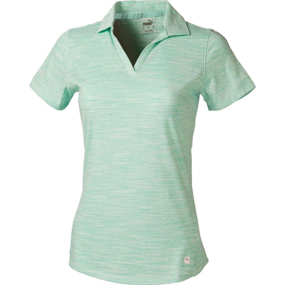 プーマ PUMA レディース ゴルフ 半袖 トップス【Heather Slub Short Sleeve Golf Polo】Green Glimmer Heather