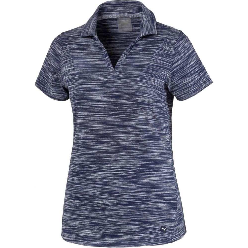 プーマ PUMA レディース ゴルフ 半袖 トップス【Heather Slub Short Sleeve Golf Polo】Peacoat Heather