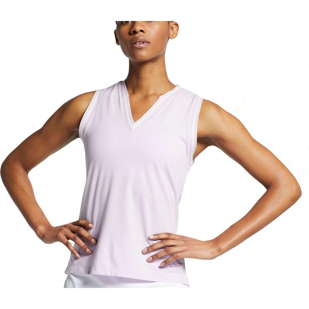 ナイキ Nike レディース ゴルフ ノースリーブ ポロシャツ トップス【Knit Burnout Sleeveless Golf Polo】Lilac Mist