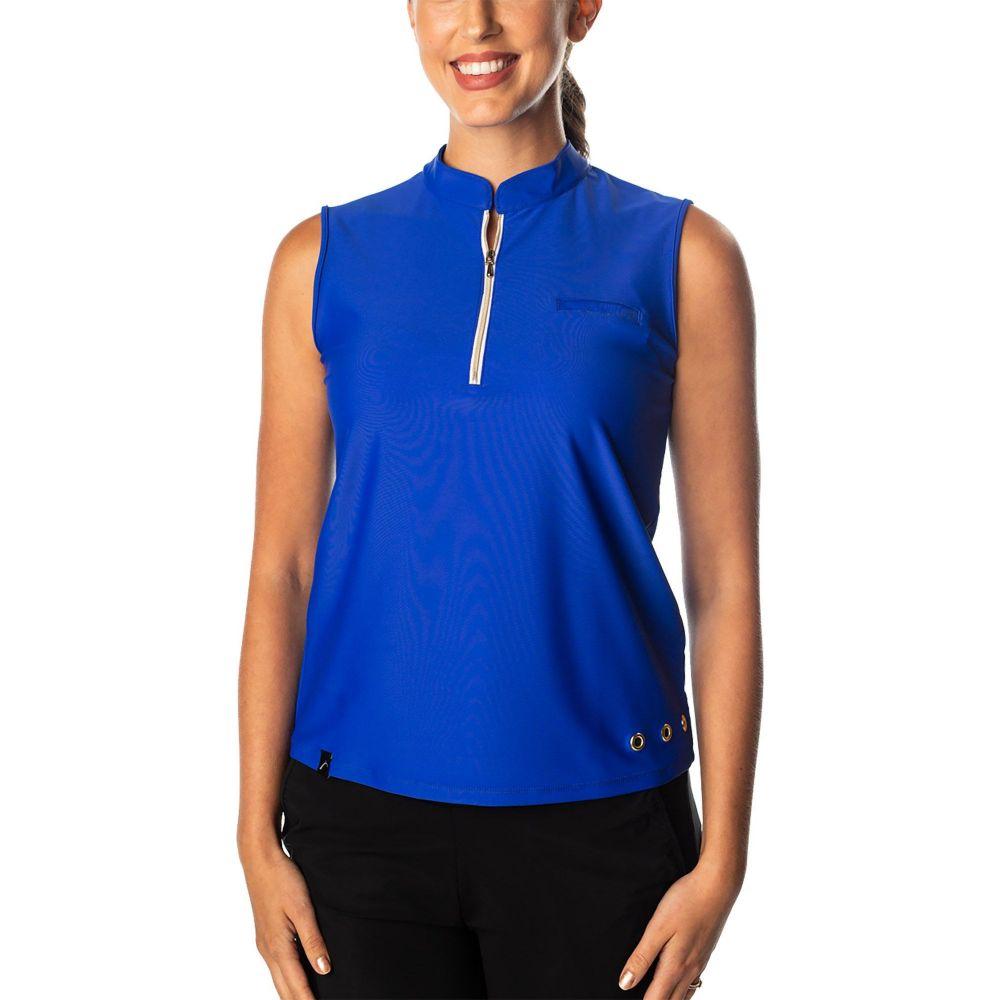 スウィングディッシュ SwingDish レディース ゴルフ ノースリーブ ポロシャツ トップス【Polly Sleeveless Golf Polo】Blue