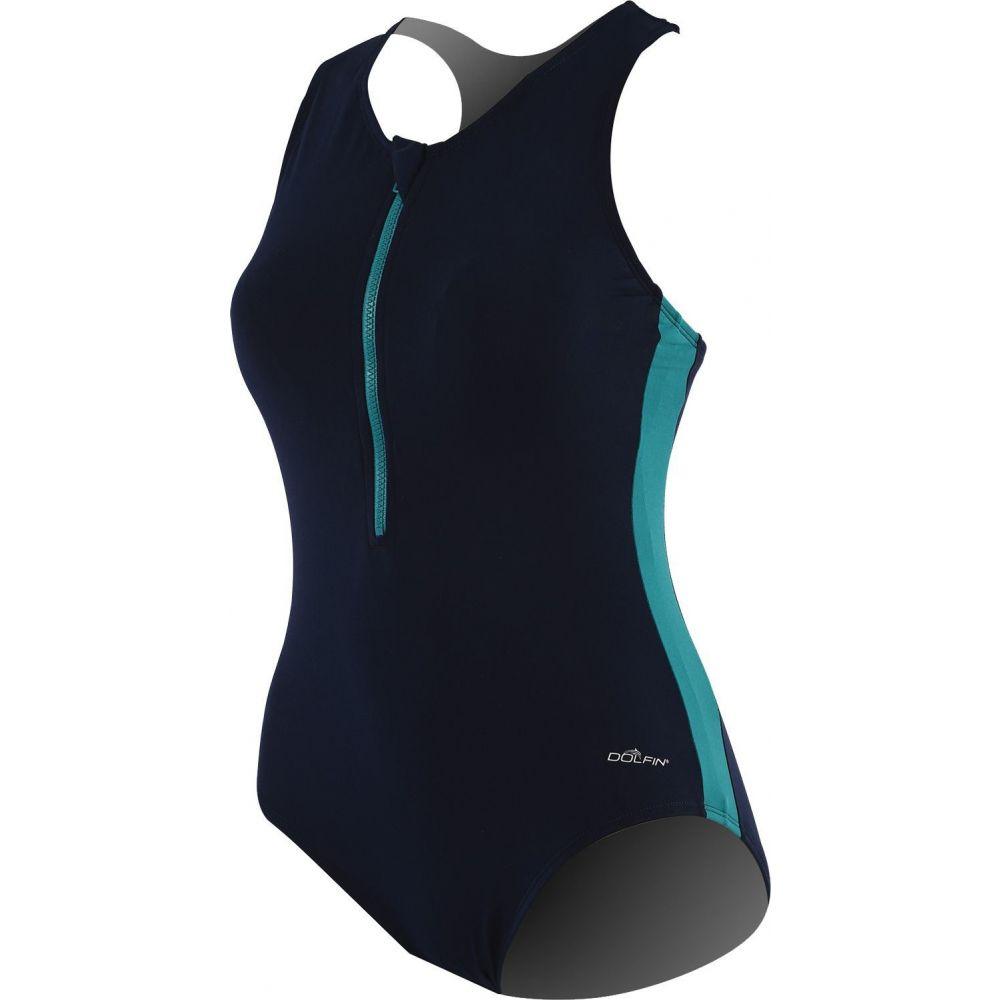 ドルフィン Dolfin レディース ワンピース 水着・ビーチウェア【Zip-Front Racerback Swimsuit】Navy/Teal