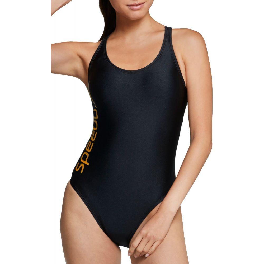 スピード Speedo レディース ワンピース 水着・ビーチウェア【Gold Thin Strap One Piece Swimsuit】Black/Gold