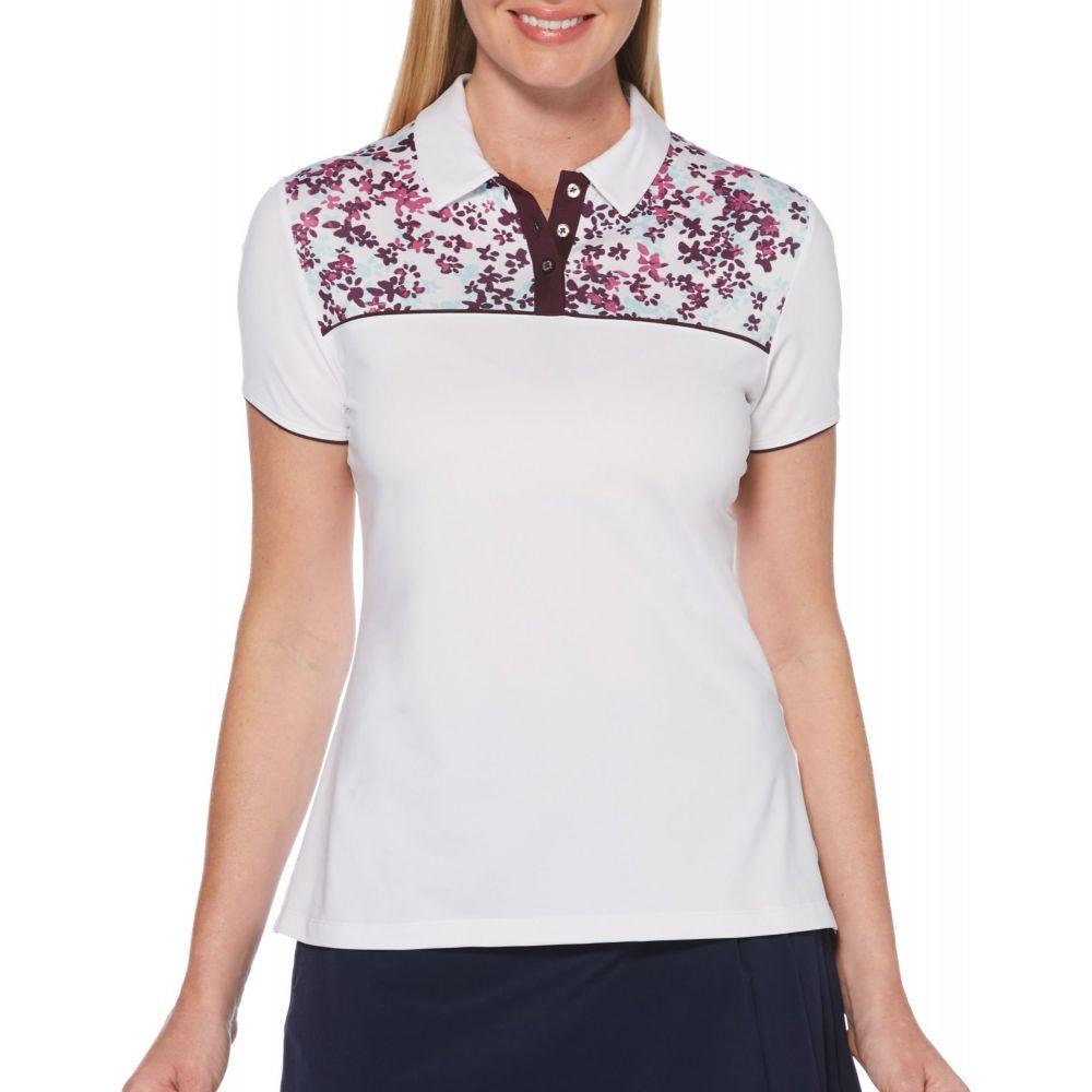 キャロウェイ Callaway レディース ゴルフ 半袖 トップス【Confetti Floral Print Short Sleeve Golf Polo】Brilliant White