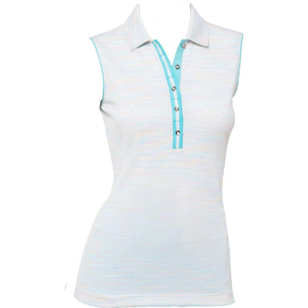 EPNY レディース ゴルフ ノースリーブ ポロシャツ トップス【EP Pro Novelty Space Dye Sleeveless Golf Polo】White Multi
