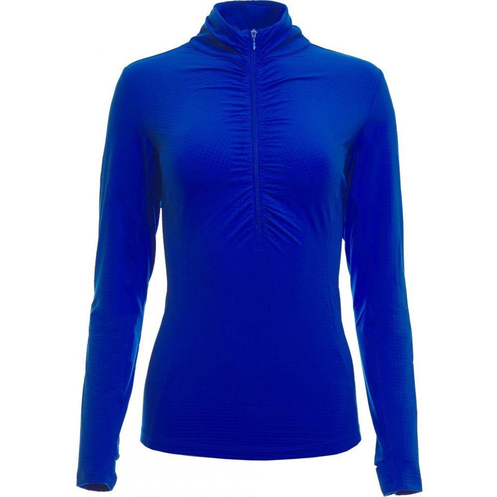 IBKUL レディース ゴルフ ポロシャツ トップス【Long Sleeve Ruched Mock Neck Golf Polo】Blue