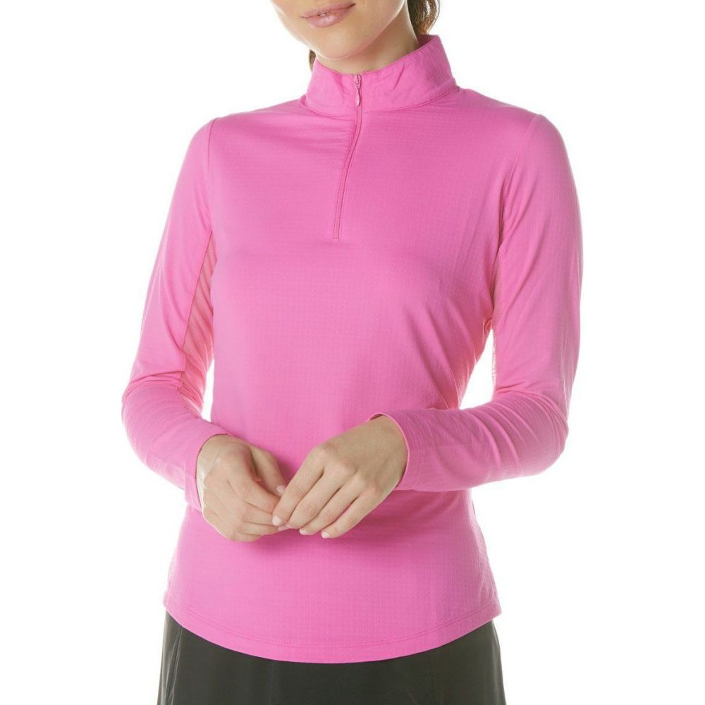 IBKUL レディース ゴルフ トップス【Solid Long Sleeve Golf Top】Hot Pink
