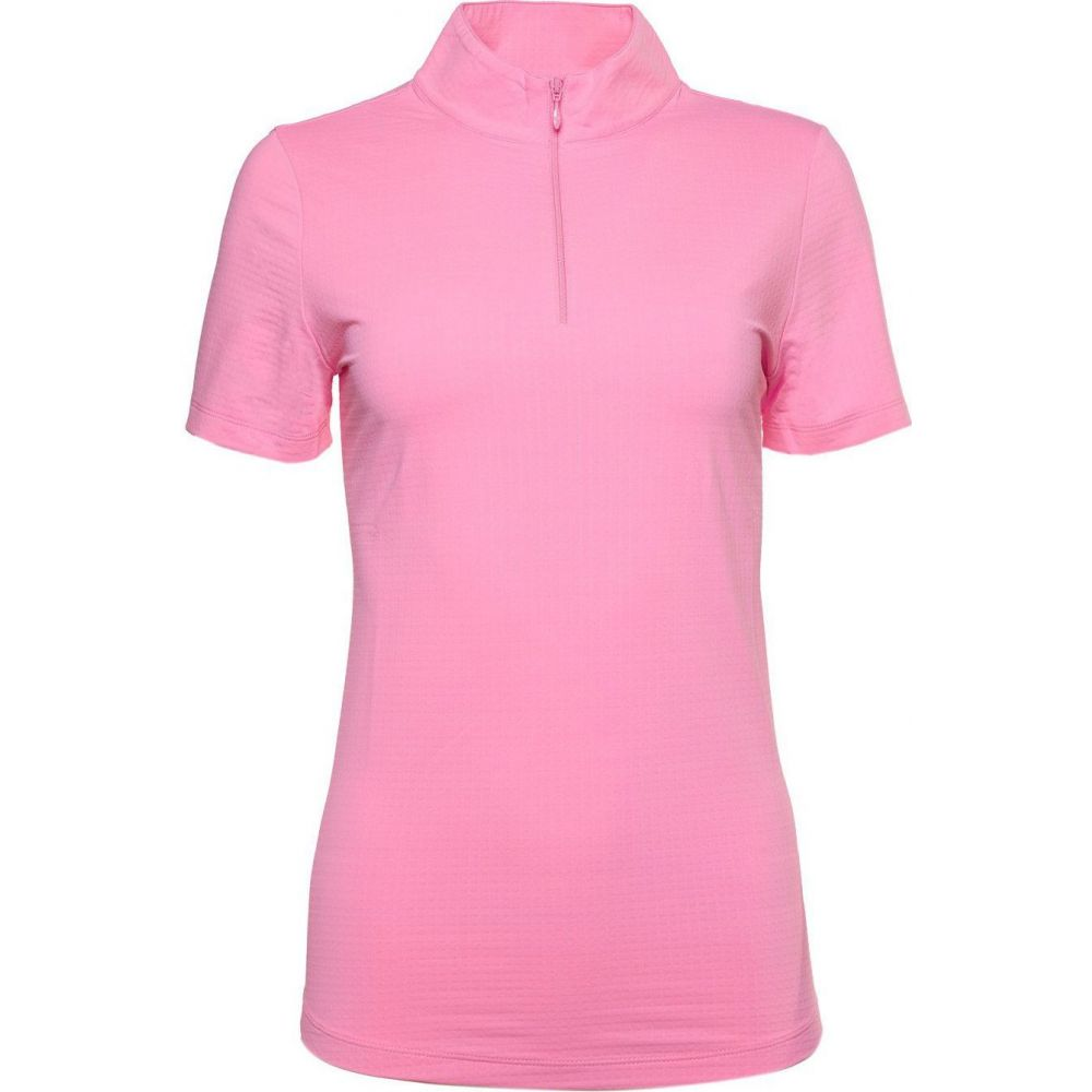 IBKUL レディース ゴルフ 半袖 トップス【Short Sleeve Mock Neck Golf Polo】Candy Pink