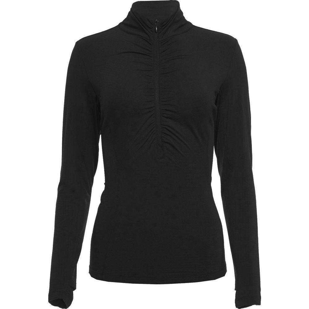 IBKUL レディース ゴルフ ポロシャツ トップス【Long Sleeve Ruched Mock Neck Golf Polo】Black