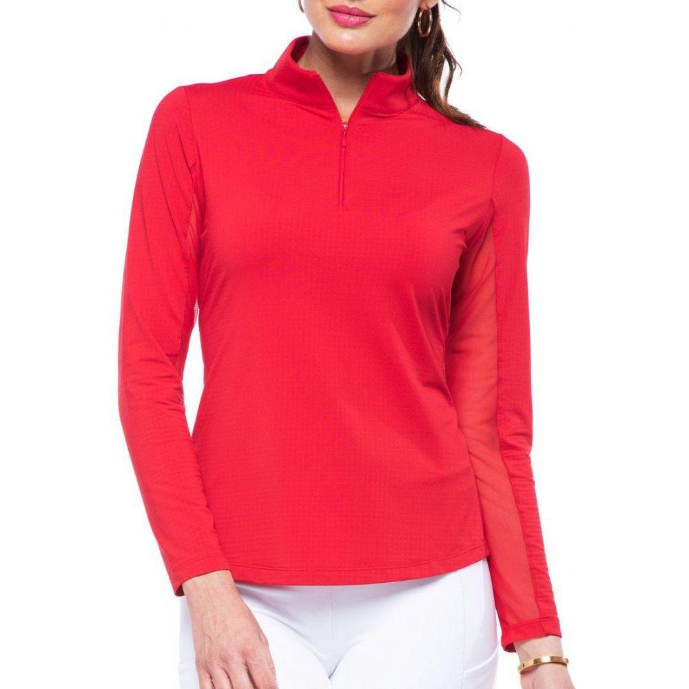IBKUL レディース ゴルフ トップス【Solid Long Sleeve Golf Top】Red