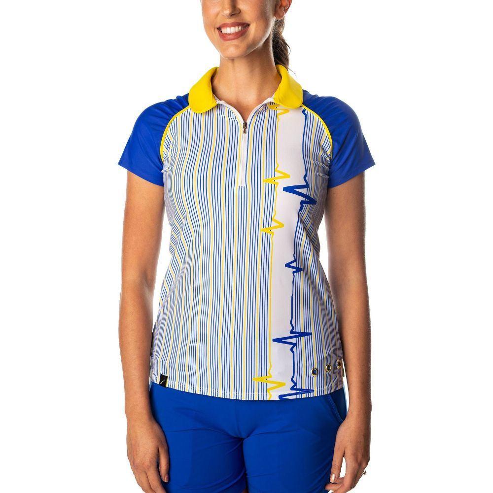 スウィングディッシュ SwingDish レディース ゴルフ 半袖 トップス【Grace Striped Short Sleeve Golf Polo】Blue