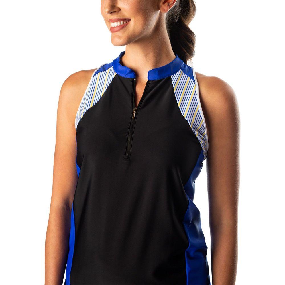 スウィングディッシュ SwingDish レディース ゴルフ ノースリーブ ポロシャツ トップス【Addi Sleeveless Golf Polo】Black/Blue