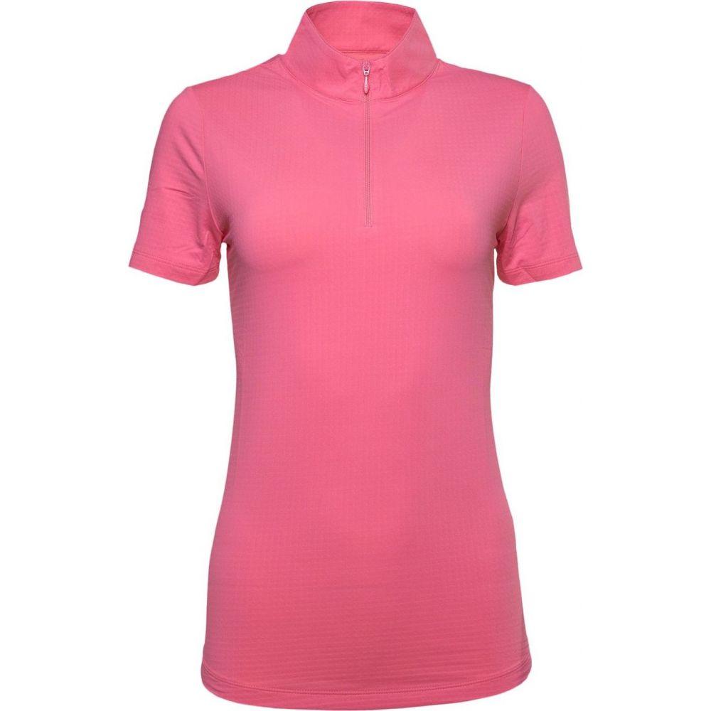 IBKUL レディース ゴルフ 半袖 トップス【Short Sleeve Mock Neck Golf Polo】Coral