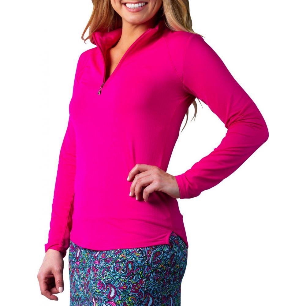 サン ソレイユ SanSoleil レディース ゴルフ トップス【SolTek ICE Solid 1/4-Zip Golf Pullover】Fiesta Pink