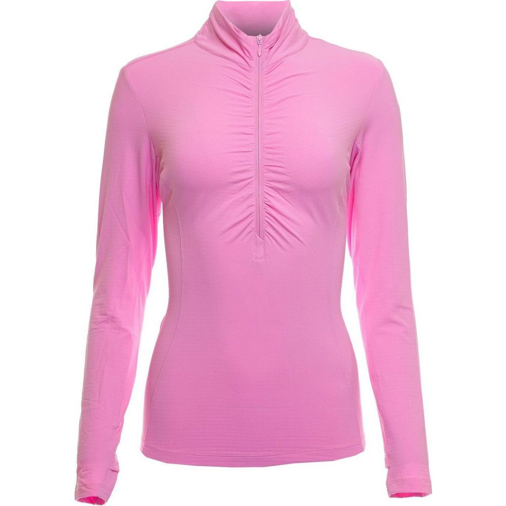IBKUL レディース ゴルフ ポロシャツ トップス【Long Sleeve Ruched Mock Neck Golf Polo】Candy Pink
