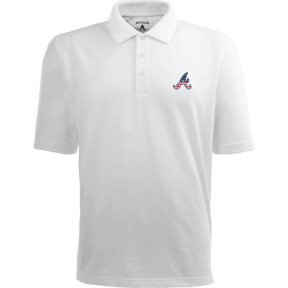 アンティグア Antigua メンズ ポロシャツ トップス【Atlanta Braves Xtra-Lite Patriotic Logo White Pique Performance Polo】