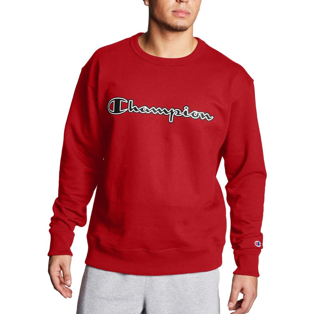 チャンピオン Champion メンズ スウェット・トレーナー トップス【Powerblend Fleece Script Logo Applique Crewneck Sweatshirt】Team Red Scarlet