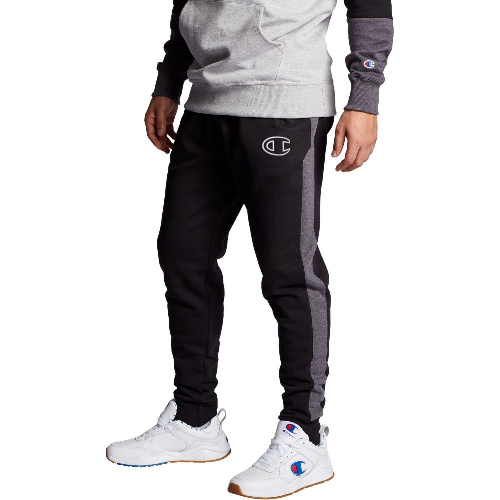 チャンピオン Champion メンズ ジョガーパンツ ボトムス・パンツ【Powerblend Colorblock Joggers】Black/Granite Heather
