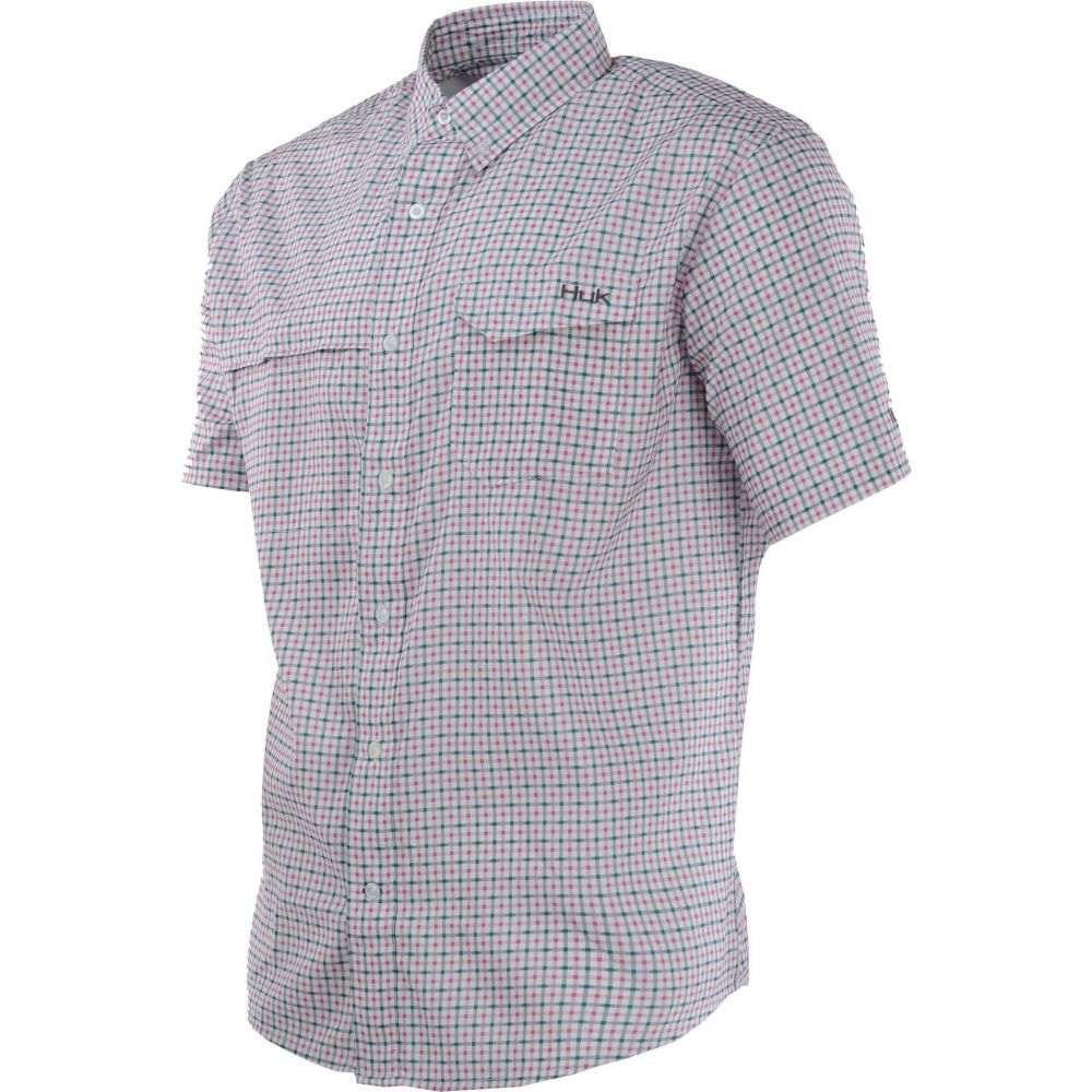 ハック HUK メンズ 半袖シャツ トップス【Huk Tide Point Woven Plaid Short Sleeve Button Down Shirt】Pink Taffy