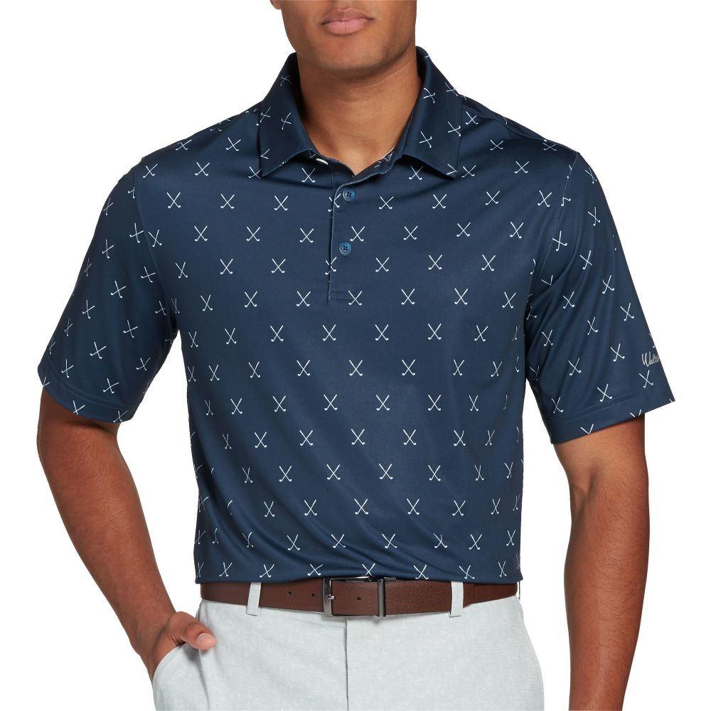 ウォルターヘーゲン Walter Hagen メンズ ゴルフ 大きいサイズ ポロシャツ トップス【Big & Tall Perfect 11 Cross Clubs Printed Golf Polo】Navy