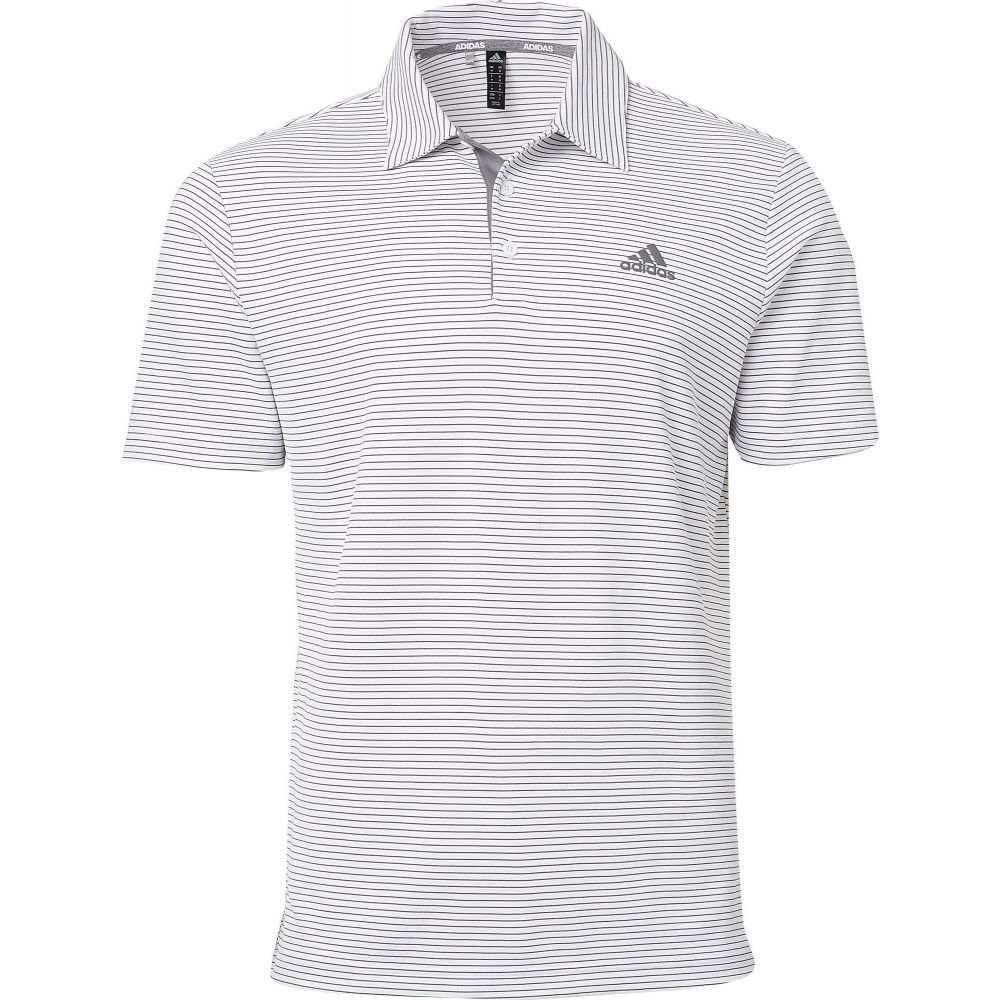 アディダス adidas メンズ ゴルフ ポロシャツ トップス【Drive 2 Color Stripe Golf Polo】White/Grey Three