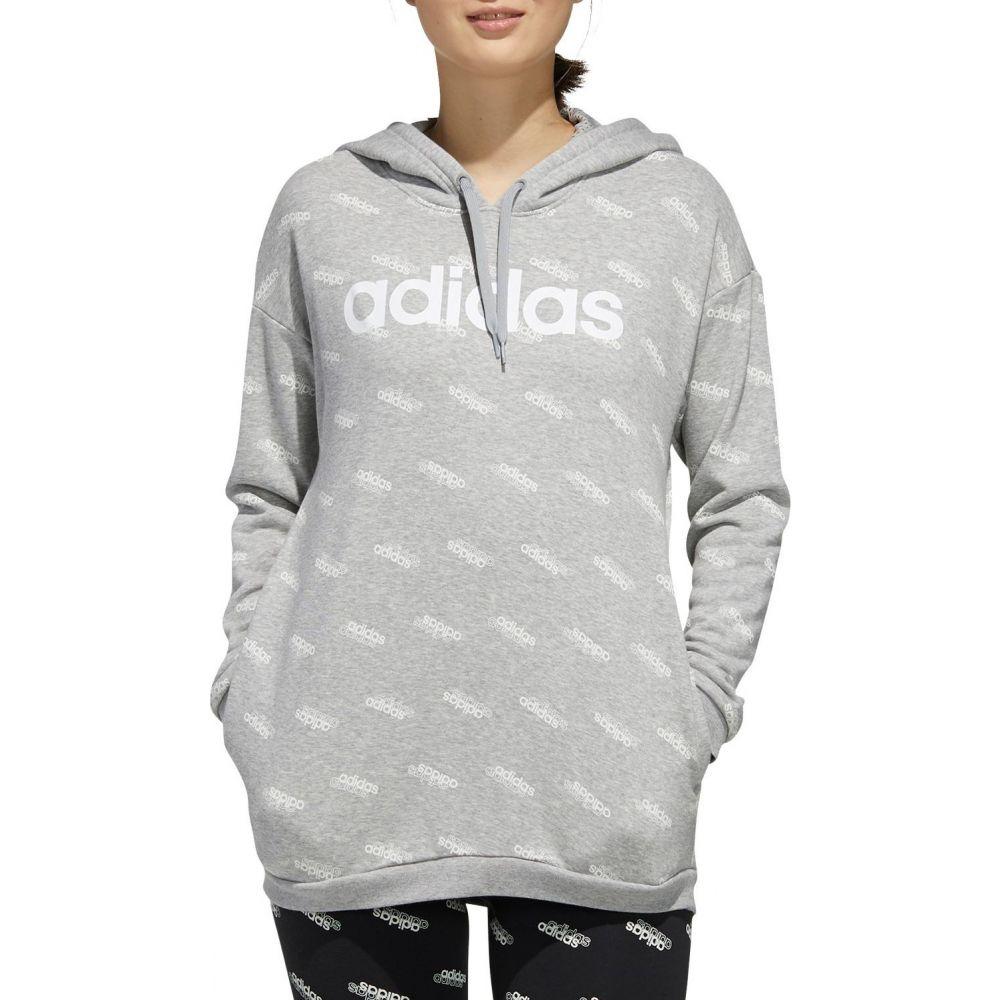 アディダス adidas レディース パーカー トップス【Favourites Hoodie】Medium Grey Heather/White