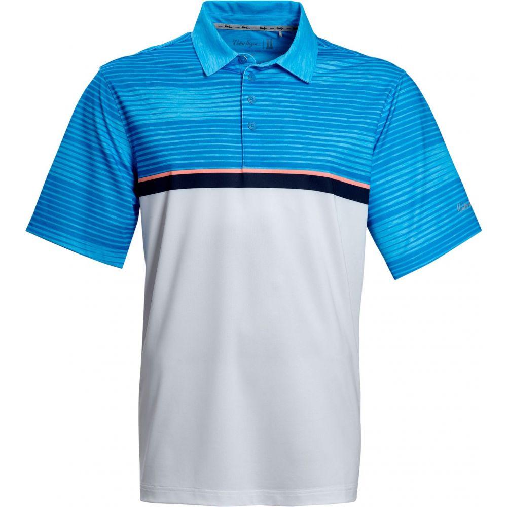 ウォルターヘーゲン Walter Hagen メンズ ゴルフ ポロシャツ トップス【Perfect 11 Striped Colorblock Golf Polo】Cerulean Blue
